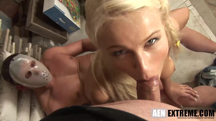 Nikki Sun the perfect blonde fuck toy for two masked strangers | Masked Perversions